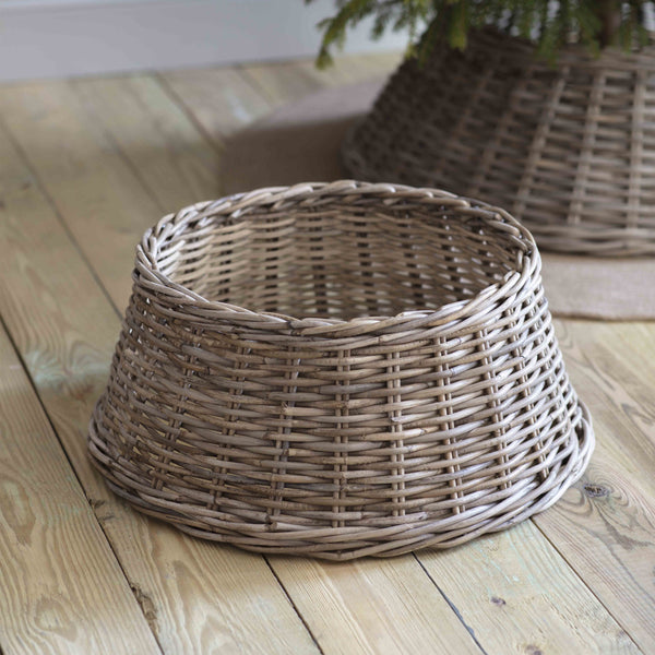 Wicker Christmas Tree Skirt - Greige - Home & Garden - Chiswick, London W4