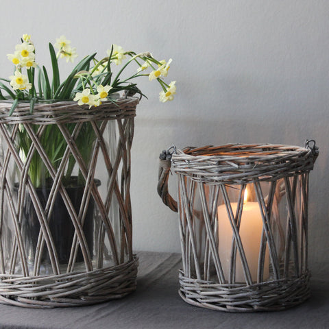 Simple Willow and Glass Lantern Two Sizes