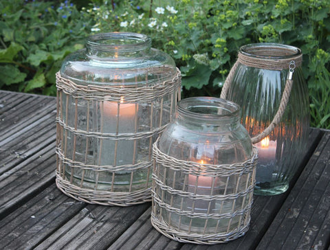 Glass Bottle Lantern or Vase with Lattice Willow Cover