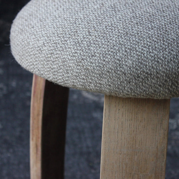 Wool Stool with Oak Wine Barrel Stave Legs - Greige - Home & Garden - Chiswick, London W4