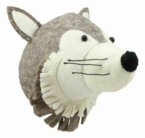 Mini Wolf Felt Head Fiona Walker Fairtrade Handmade