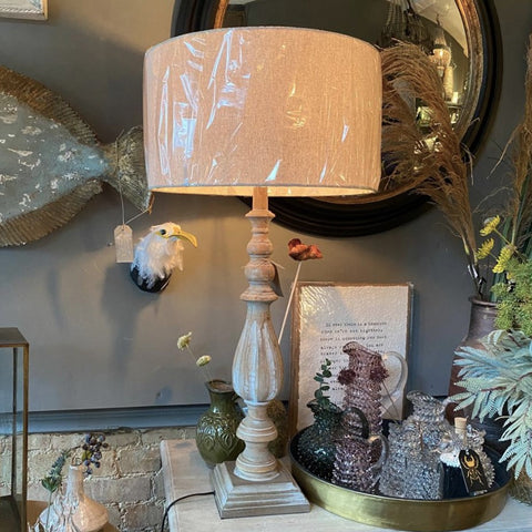 Tall Spindle Lamp distressed cream wash finish