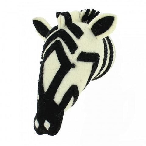 Mini Felt Zebra Head Wall Art by Fiona Walker Fairtrade made in India