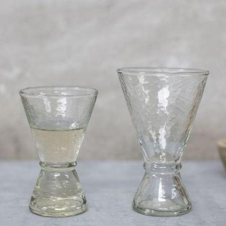 hand blown and hammered glass wine glasses