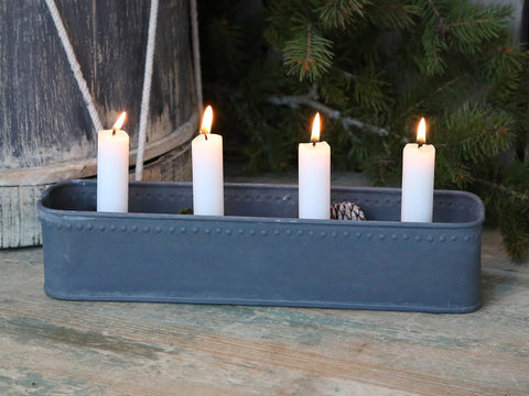 Antique Zinc Advent Candle-Holder - Greige - Home & Garden - Chiswick, London W4