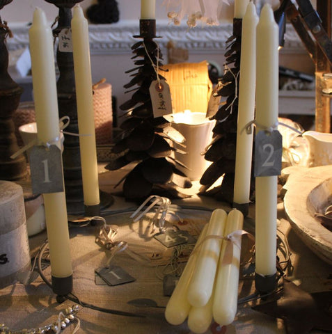 Zinc Advent Tags (1-4), Zinc Leaf Candle Holder, Ivory Candles - Greige - Home & Garden - Chiswick, London W4