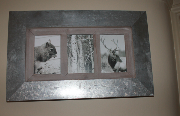 Metal And Wood Multi Photo Frame Three Apertures