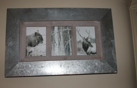 Metal and Wood Multi-Photo Frame - Three Apertures