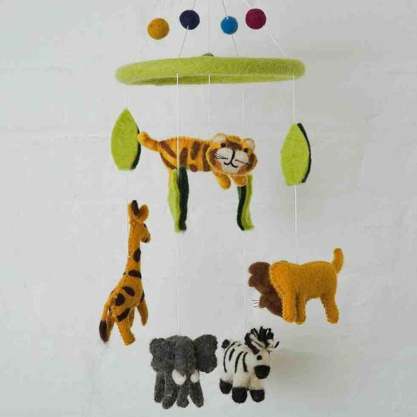 Handmade Felt Zoo Animal Mobile Fairtrade