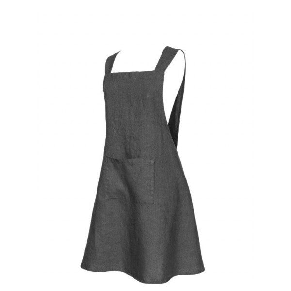 Pure Washed Linen Japanese Style Cross Back Apron - Greige - Home & Garden - Chiswick, London W4