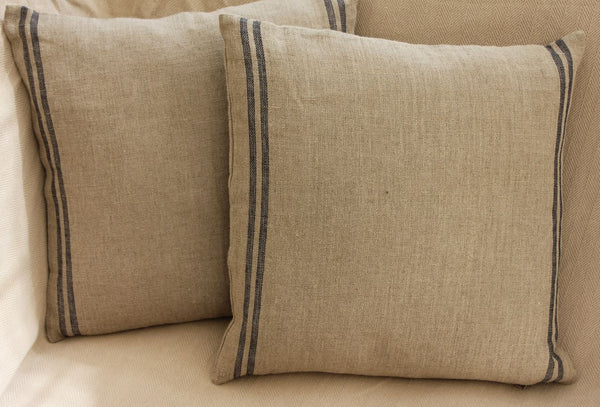 Linen Cushion - Red or Navy Stripes