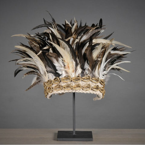 Ceremonial Feather Headdress on Stand - Greige - Home & Garden - Chiswick, London W4