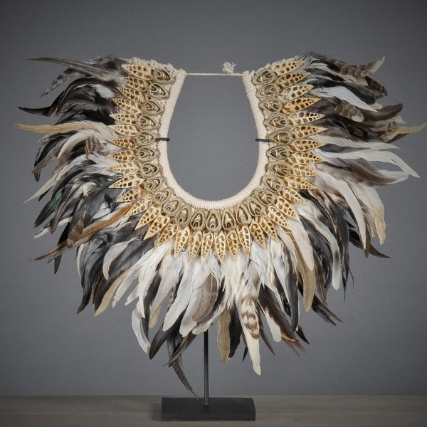 Ceremonial Feather Neckpiece on Stand - Greige - Home & Garden - Chiswick, London W4