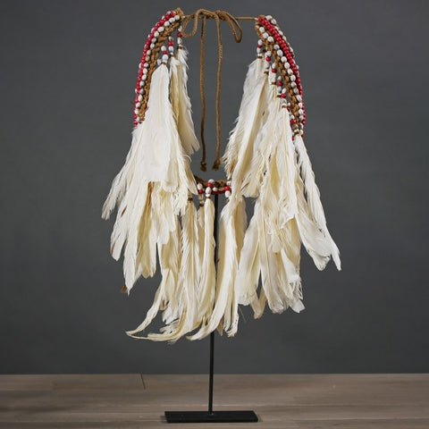 Ceremonial White Feather Necklace from Papua New Guinea - Greige - Home & Garden - Chiswick, London W4