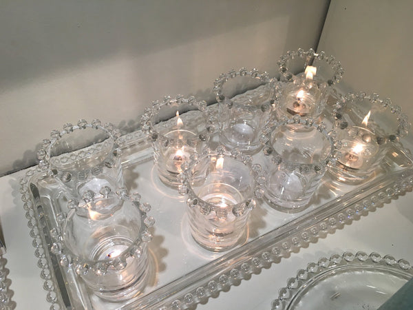 Clear Glass Tealight Holder with Bobble Rim - Greige - Home & Garden - Chiswick, London W4