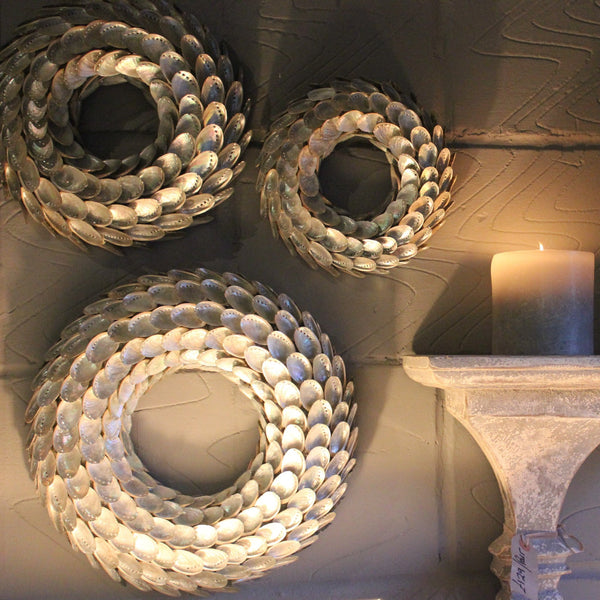 Decorative Iridescent Shell Wreath - Three Sizes - Greige - Home & Garden - Chiswick, London W4