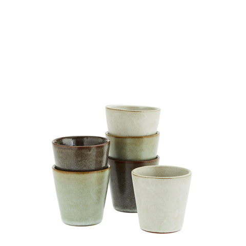 Set of six stoneware mugs beakers cups for coffee tea