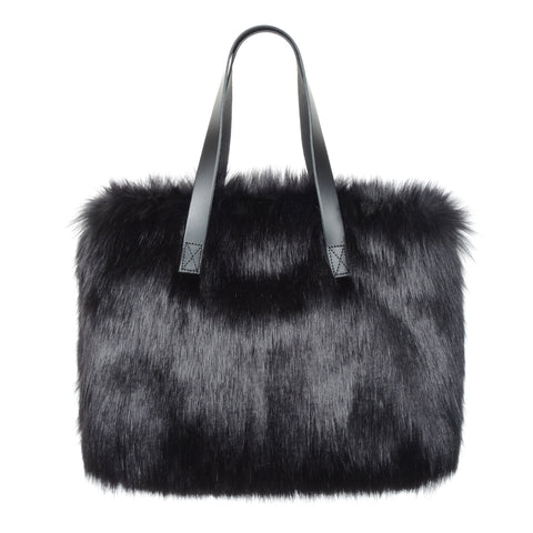 Long Handled Faux Fur Kersey Handbag by Helen Moore Ebony Black