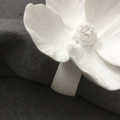 pure porcelain hibiscus flower napkin ring