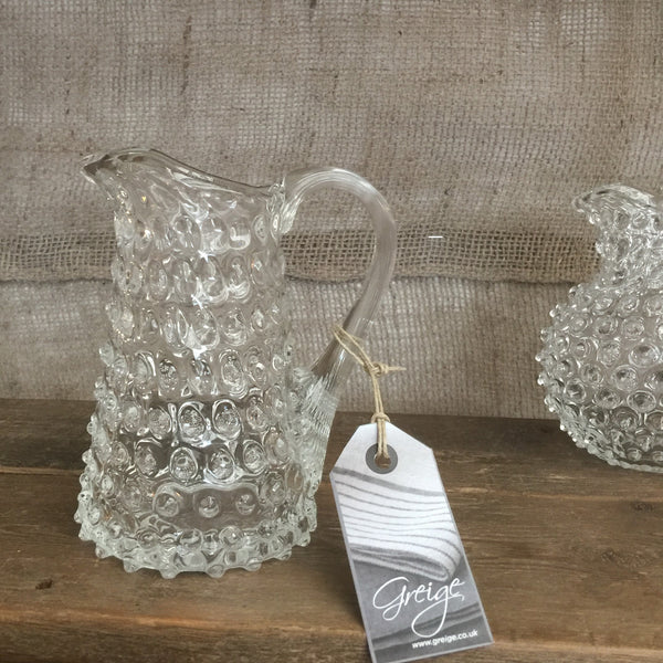 Straight-Sided Glass Jug - Hobnail Design - Two Sizes - Various Colours - Greige - Home & Garden - Chiswick, London W4
