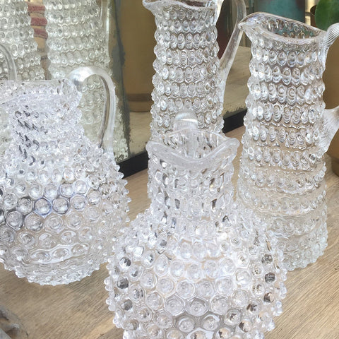 Hobnail Jugs Pitchers hand-made Czech Glass