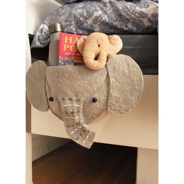 Felt Elephant Head Bedtime Storage Pouch from Fiona Walker