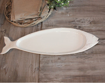 Ceramic Fish Platter - Greige - Home & Garden - Chiswick, London W4