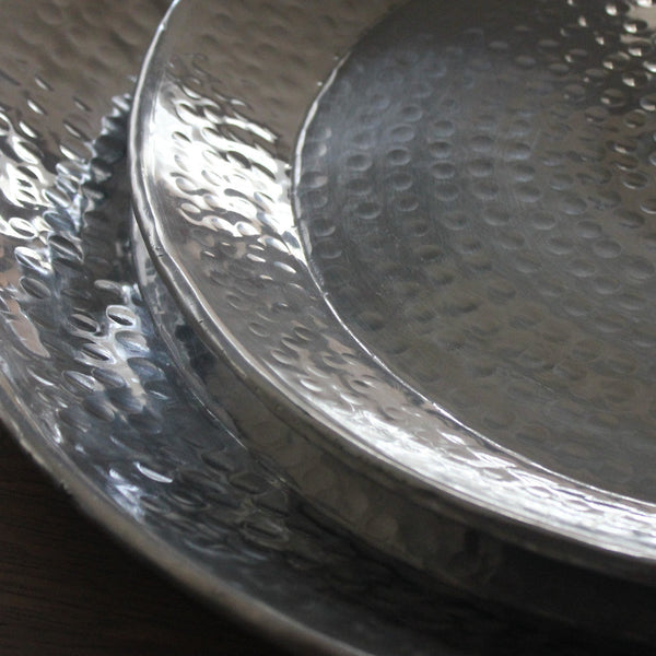 Hammered Aluminium Deep Tray - Four Sizes - Greige - Home & Garden - Chiswick, London W4