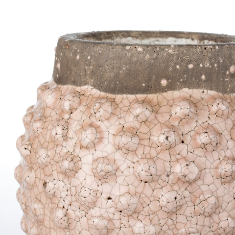 Dusty Pink Crackle Glazed Dotty Flowerpot or Vase - Two Sizes - Greige - Home & Garden - Chiswick, London W4