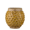 Handmade ceramic flowerpot ochre bobbles and crackled glaze