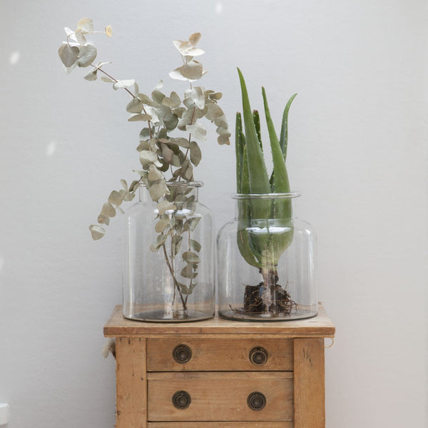 Tall Glass Bottle Vase - Two Sizes - Greige - Home & Garden - Chiswick, London W4