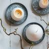 White Egg Candle with Yellow Yolk on zinc tray