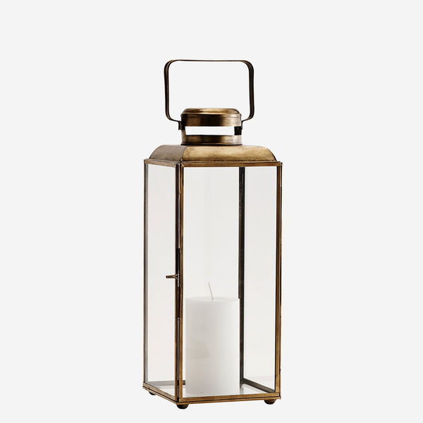 Antiqued Brass and Glass Lantern - Greige - Home & Garden - Chiswick, London W4