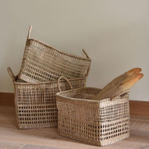 Set of Three Rectangular Seagrass Baskets - Natural - Greige - Home & Garden - Chiswick, London W4