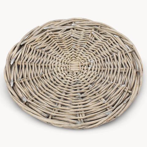 large round grey willow wicker underplate