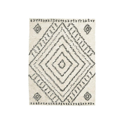 Berber Style cotton rug ivory black diamond pattern