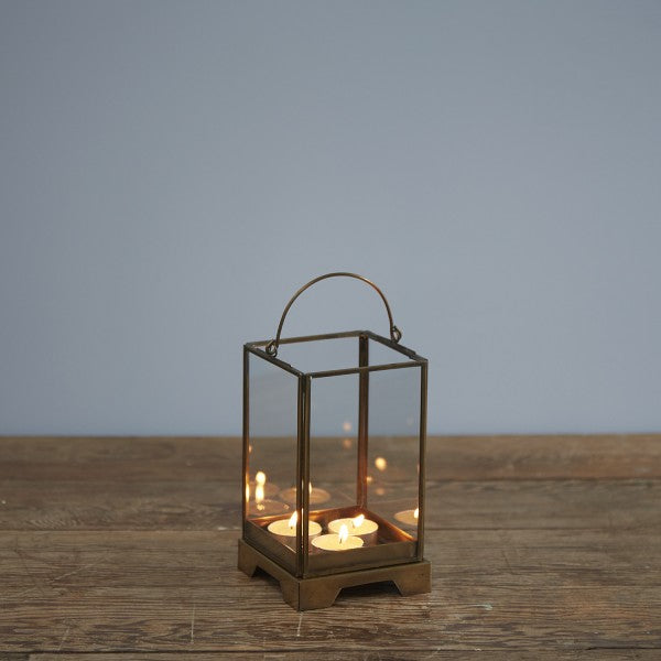 Antique Effect Brass Box Lanterns - two sizes