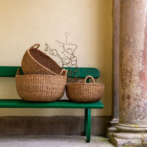 Large Round Seagrass Storage Basket - Set of Three - Greige - Home & Garden - Chiswick, London W4