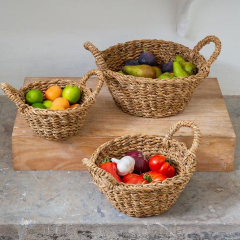 Small Round Seagrass Fruit Basket - Set of Three - Greige - Home & Garden - Chiswick, London W4