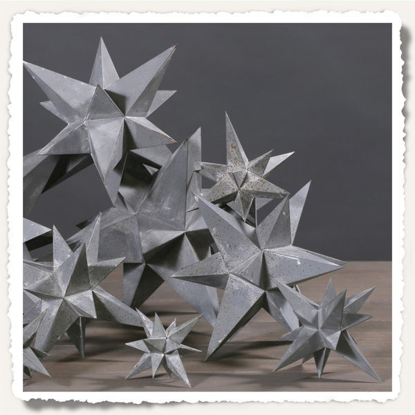 Set of Five Zinc Stars - Greige - Home & Garden - Chiswick, London W4