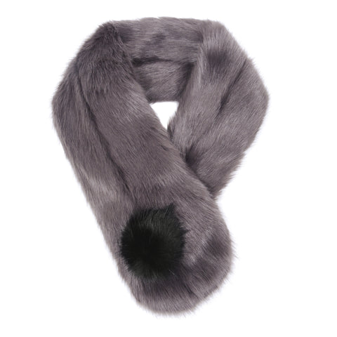 Pom Button Scarf from Helen Moore - Steel with Jet Pom Pom