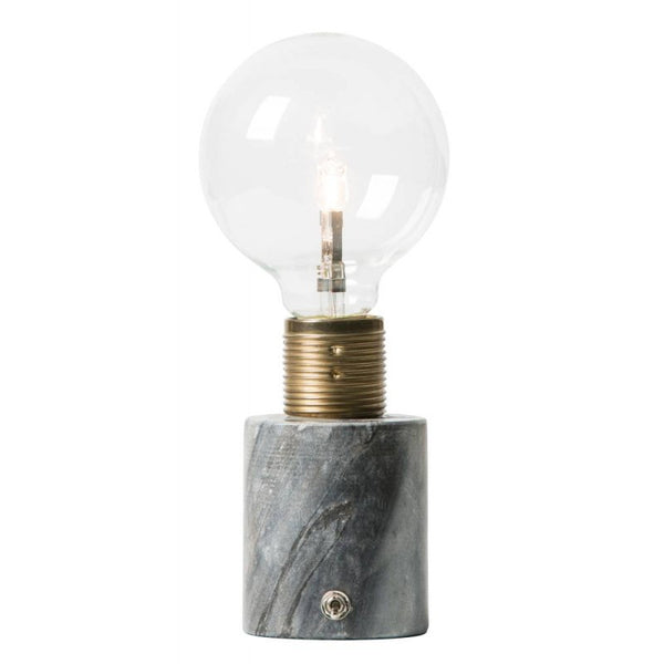 Little black marble switch light lamp with naked vintage bulb