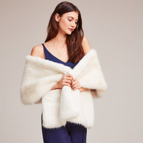 Helen Moore faux fur stole Ermine Winter White
