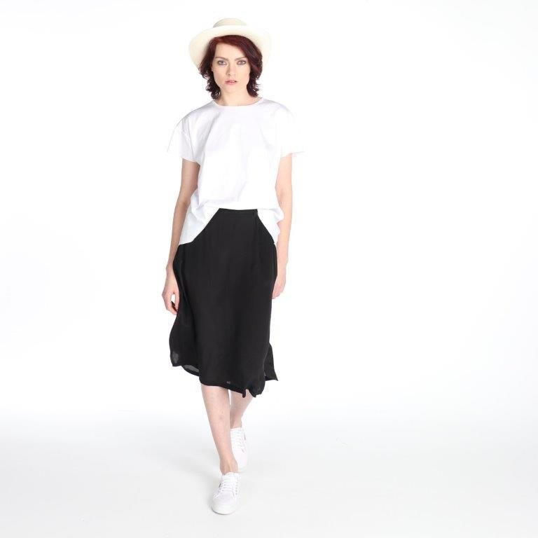 2111 SILK CDC  SKIRT BLACK