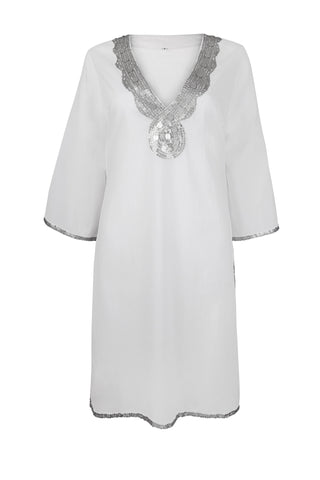 White Beach Cover Up/Kaftan with Silver Sequins