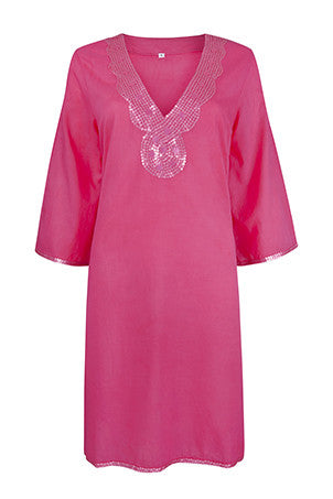 Raspberry Pink Sequinned Beach Cover Up