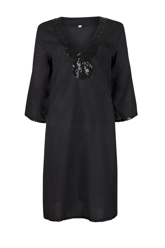 Black Beach Cover up / Kaftan with Sequins
