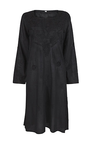 Warm Black Knee Length Embroidered Beach Cover Up / Kaftan