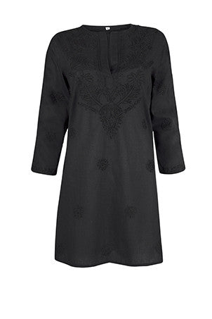 Black Beach Cover Up / Kaftan with Exquisite Hand Embroidery