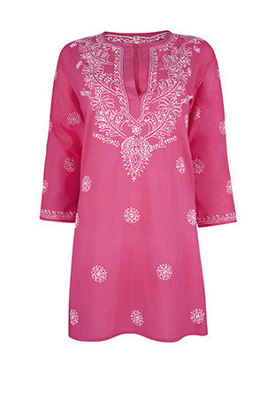 Raspberry Pink Beach Kaftan / Cover up with Hand Embroidery
